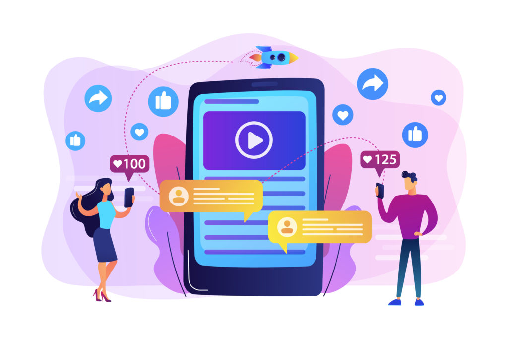 Digital marketing, online advertising, SMM. App notification, chatting, texting. Viral content, internet meme creation, mass shared content concept. Bright vibrant violet vector isolated illustration